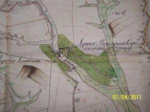 Карта поселений с разграничениями (границами) — Янгильдина (Кармаш) и Семенчина (Шанчас) 1794 года.